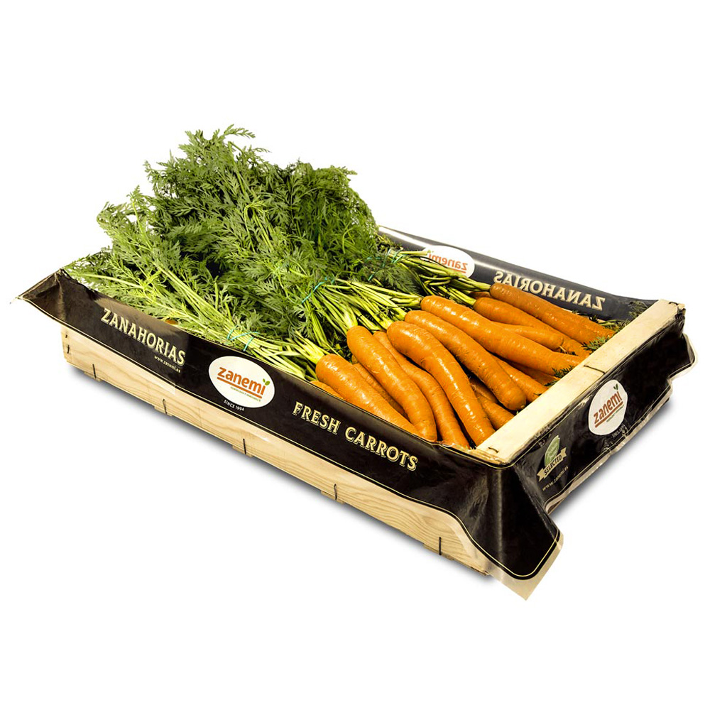 Caja de manojitos de zanahorias Zanemi - Producción y venta de hortalizas y verduras