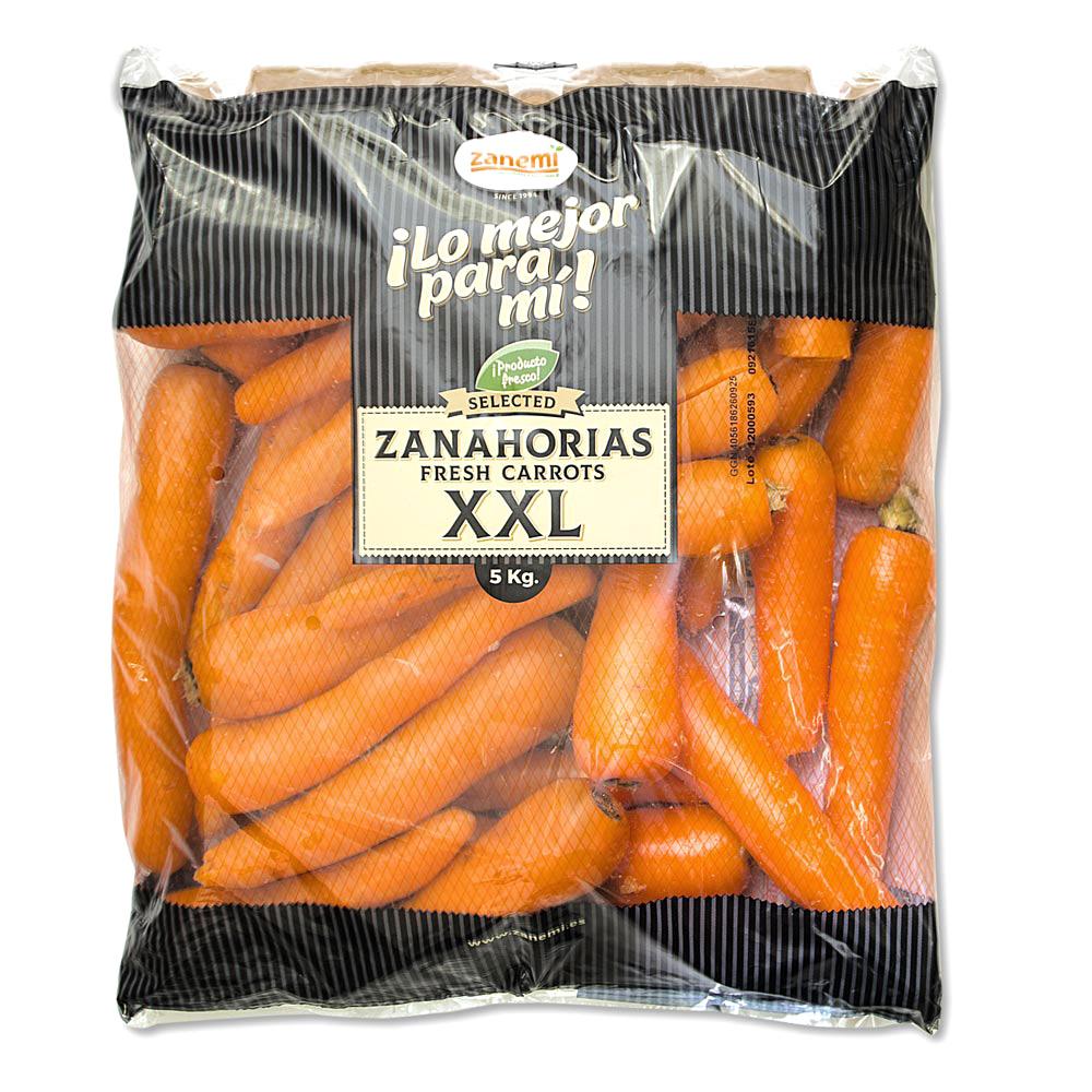 Bolsa de 5 kg de zanahorias XXL Zanemi - Producción y venta de hortalizas y verduras